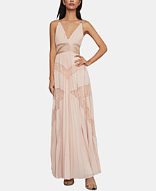 BCBGMAXAZRIA Embellished Lace-Inset Gown