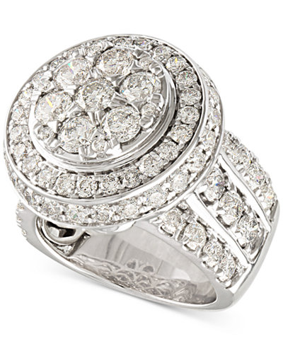 Diamond Double-Halo Statement Ring (5 ct. t.w.) in 14k White Gold