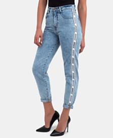 Jordache Cotton High-Waisted Logo-Stripe Jeans