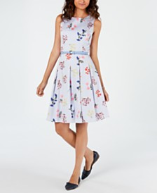 Tommy Hilfiger Belted Floral Striped Fit & Flare Dress, Created for Macy's