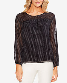 Vince Camuto Burnout Dot-Print Blouse