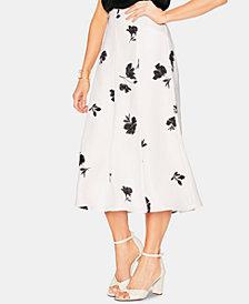 Vince Camuto Floral-Print Ruffle-Hem Skirt