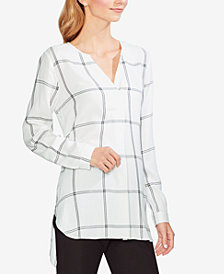 Vince Camuto Windowpane-Print High-Low Tunic