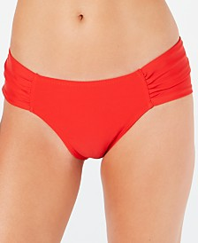 RACHEL Rachel Roy Solid Side-Shirred Hipster Bikini Bottoms