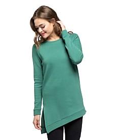 YALA Kelli Organic Cotton and Viscose from Bamboo Asymetrical Sweatshirt Tunic