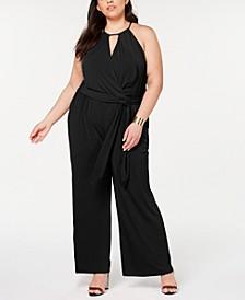 Plus Size Halter-Neck Faux-Wrap Jumpsuit