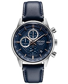 Seiko Men's Chronograph Blue Leather Strap Watch 42.7mm