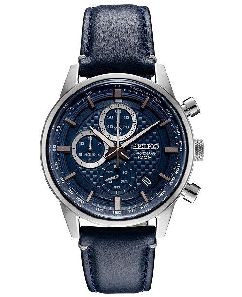 Seiko Men's Chronograph Blue Leather Strap Watch 42.7mm