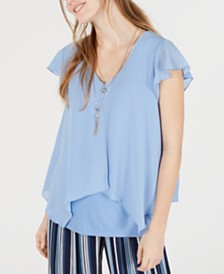 BCX Juniors' Necklace Layered-Look Flutter Top