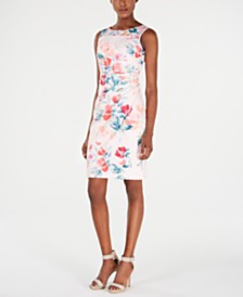 Calvin Klein Petite Floral-Print Starburst Sheath Dress