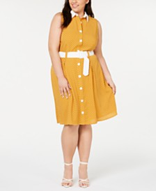 Monteau Plus Size Belted Printed Button-Up Shirtdress