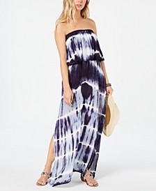 Tie-Dye Strapless Maxi Cover-Up Dress