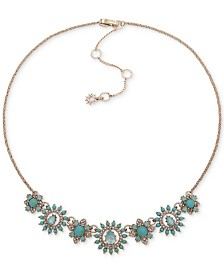 "Marchesa Gold-Tone Crystal & Stone Flower Statement Necklace, 16"" + 3"" extender"