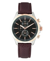 082bbc515cb I.N.C. Men s Faux Brown Leather Strap Watch 42mm
