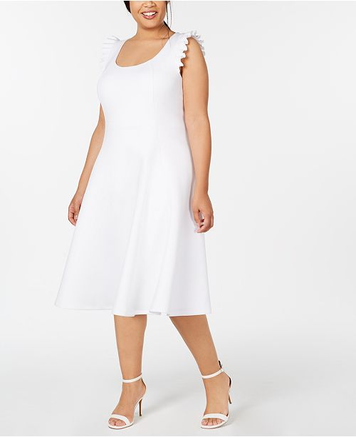 1d50592c3c Calvin Klein Plus Size Ruffled Midi Fit   Flare Dress   Reviews ...