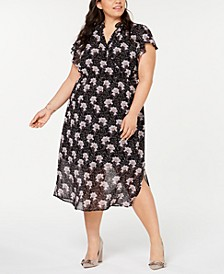 Plus Size Bloomsbury Floral-Print Flounce Midi Dress
