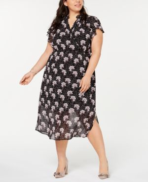 Image of 1.state Plus Size Bloomsbury Floral-Print Flounce Midi Dress