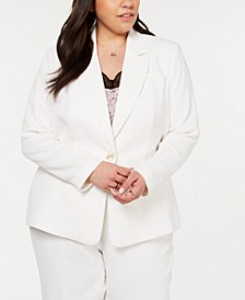 Plus Size Textured Crepe One-Button Blazer