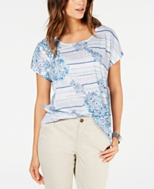 Style & Co Printed Scoop-Neck Top, Created for Macy's
