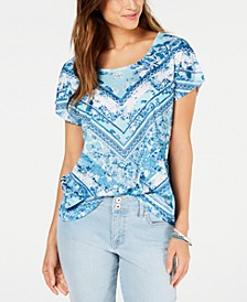 Petite Printed Dolman-Sleeve T-Shirt, Created for Macy's