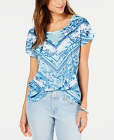Style & Co Petite Printed Dolman-Sleeve T-Shirt, Created for Macy's