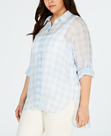 Calvin Klein Plus Size Printed Roll-Tab-Sleeve Top