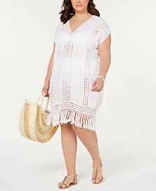 Raviya Plus Size Crocheted Fringe Cover-Up