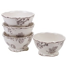 Certified International Vintage Cream with Floral 4-Pc. Ice Cream Bowl