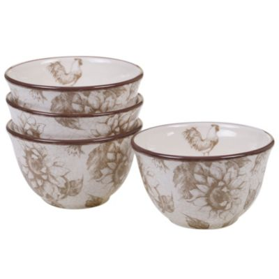 Toile Rooster 4-Pc. Ice Cream Bowl