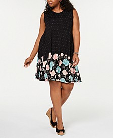 Plus Size Sleeveless Printed-Skirt A-Line Dress, Created for Macy's