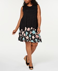 Style & Co Plus Size Sleeveless Printed-Skirt A-Line Dress, Created for Macy's