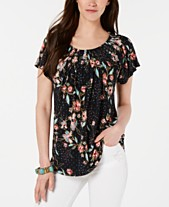 048da914 Style & Co Pleated-Neck Floral-Print Top, Created for Macy's