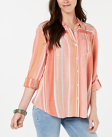 Style & Co Roll-Tab-Sleeve Striped Top, Created for Macy's