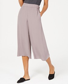 Eileen Fisher Cropped Silk Wide-Leg Pants, Regular & Petite