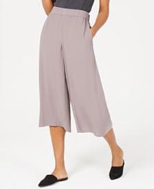 Eileen Fisher Cropped Silk Wide-Leg Pants, Regular & Petite