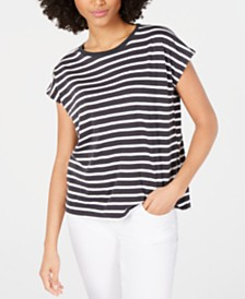 Eileen Fisher Cotton Crewneck Striped T-Shirt, Regular & Petite
