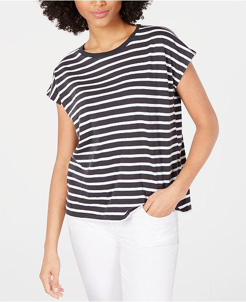 Eileen Fisher Cotton Crewneck Striped T-Shirt, Regular & Petite