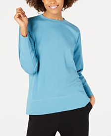 Eileen Fisher Cotton Crewneck Long-Sleeve Top