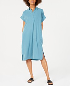 Eileen Fisher Classic Midi Tencel® and Recycled Polyester Shirtdress, Regular & Petite