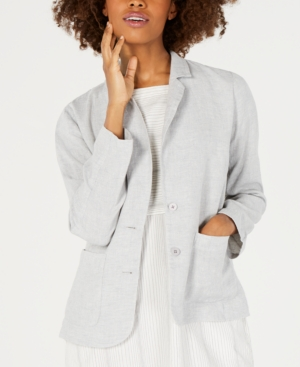 Eileen Fisher Blazers ORGANIC LINEN NOTCH-COLLAR SHAPED BLAZER