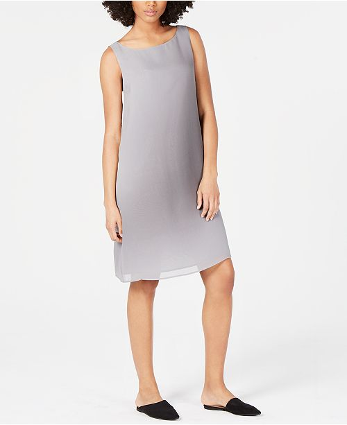 Eileen Fisher Silk Bateau-Neck Sleeveless Dress, Regular & Petite