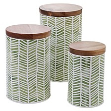 Mixed Greens Pattern 3-Pc. Canister Set