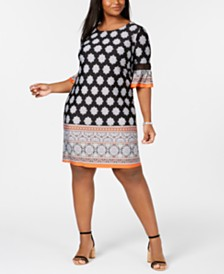 172c91430dd21 NY Collection Plus   Petite Plus Size Border-Print Bell-Sleeve Dress