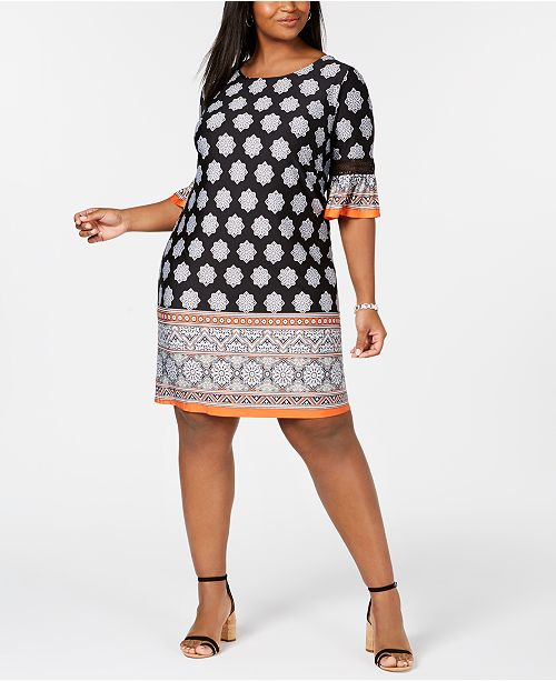 1523b556698 ... NY Collection Plus   Petite Plus Size Border-Print Bell-Sleeve Dress ...