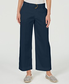 Charter Club Wide-Leg Belted Pants, Created for Macy's