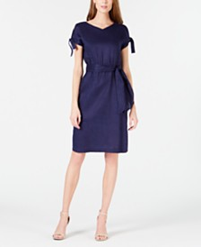 Anne Klein Belted Cold-Shoulder Dress