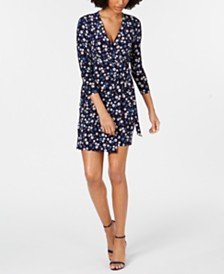 Anne Klein Floral-Print Faux-Wrap Dress