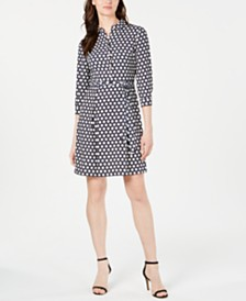 Anne Klein Printed Belted Shirtdress