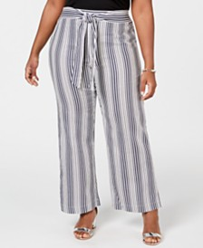 NY Collection Plus & Petite Plus Size Striped Tie-Waist Pants