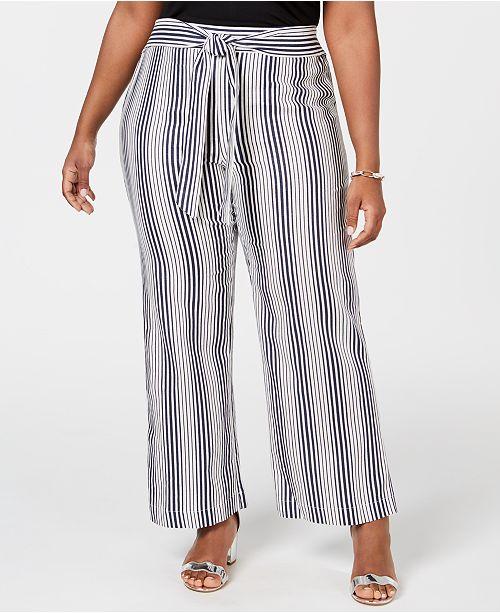 NY Collection Plus & Petite Plus Size Striped Tie-Waist Pants